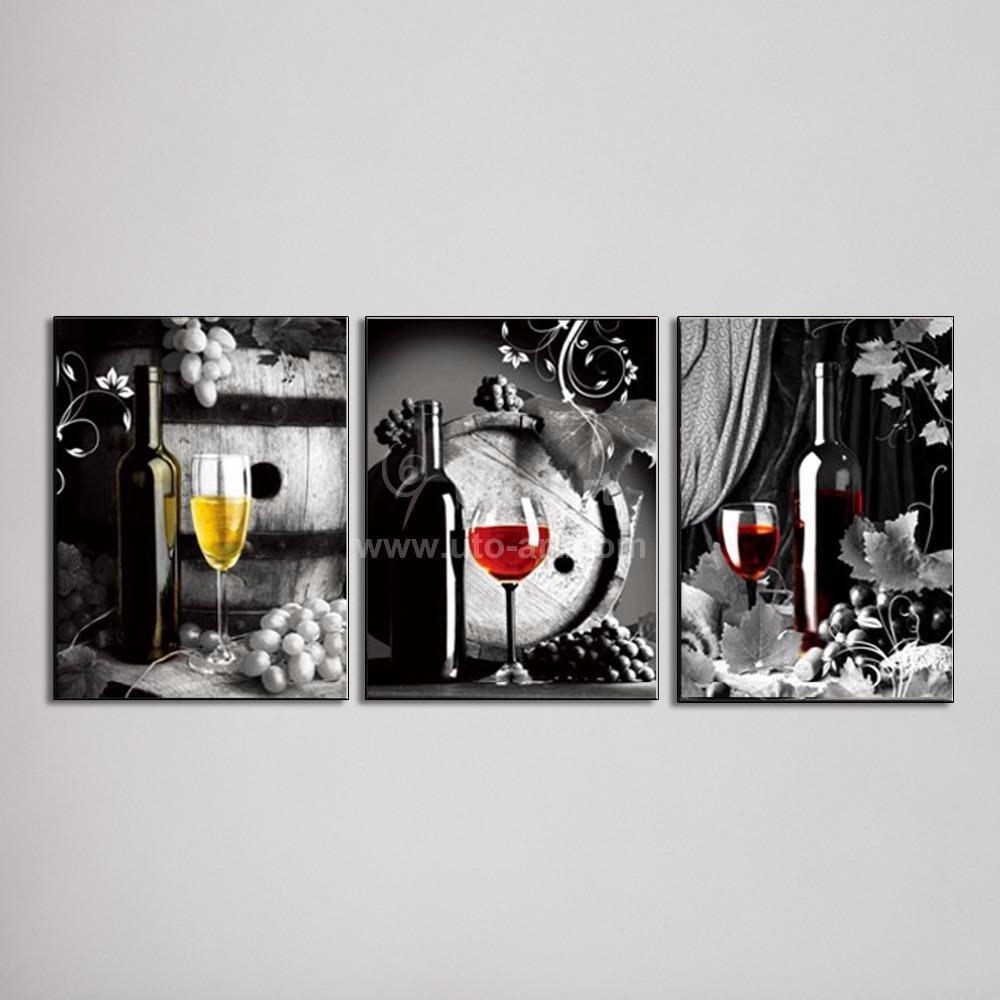 2017 Large Canvas Art Cheap Wall Art Picture Of Grape Glasses with regard to 3 Piece Wall Art