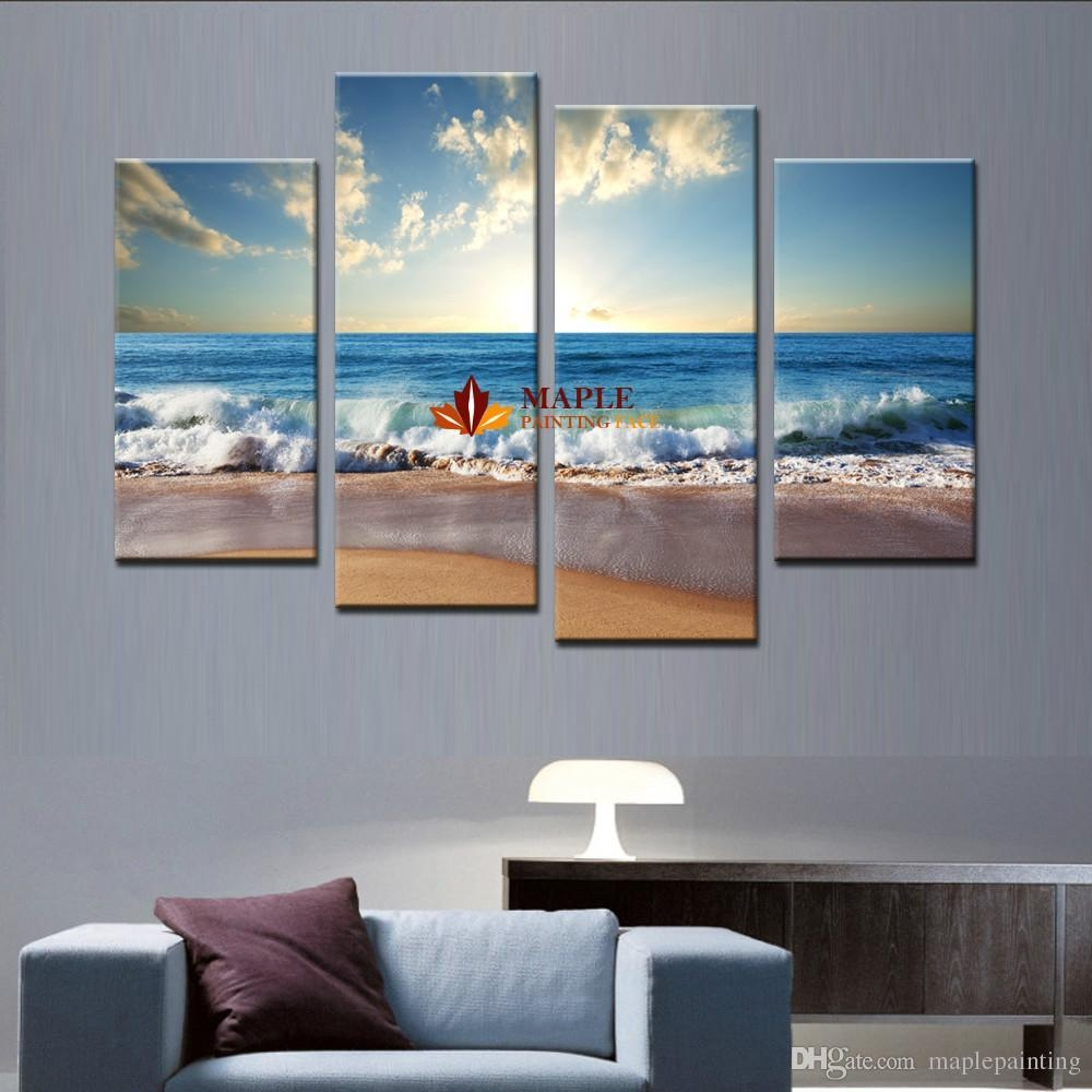 2017 Large Canvas Art Wall Hot Beach Seascape Modern Wall Painting Regarding Large Teal Wall Art (Image 1 of 20)