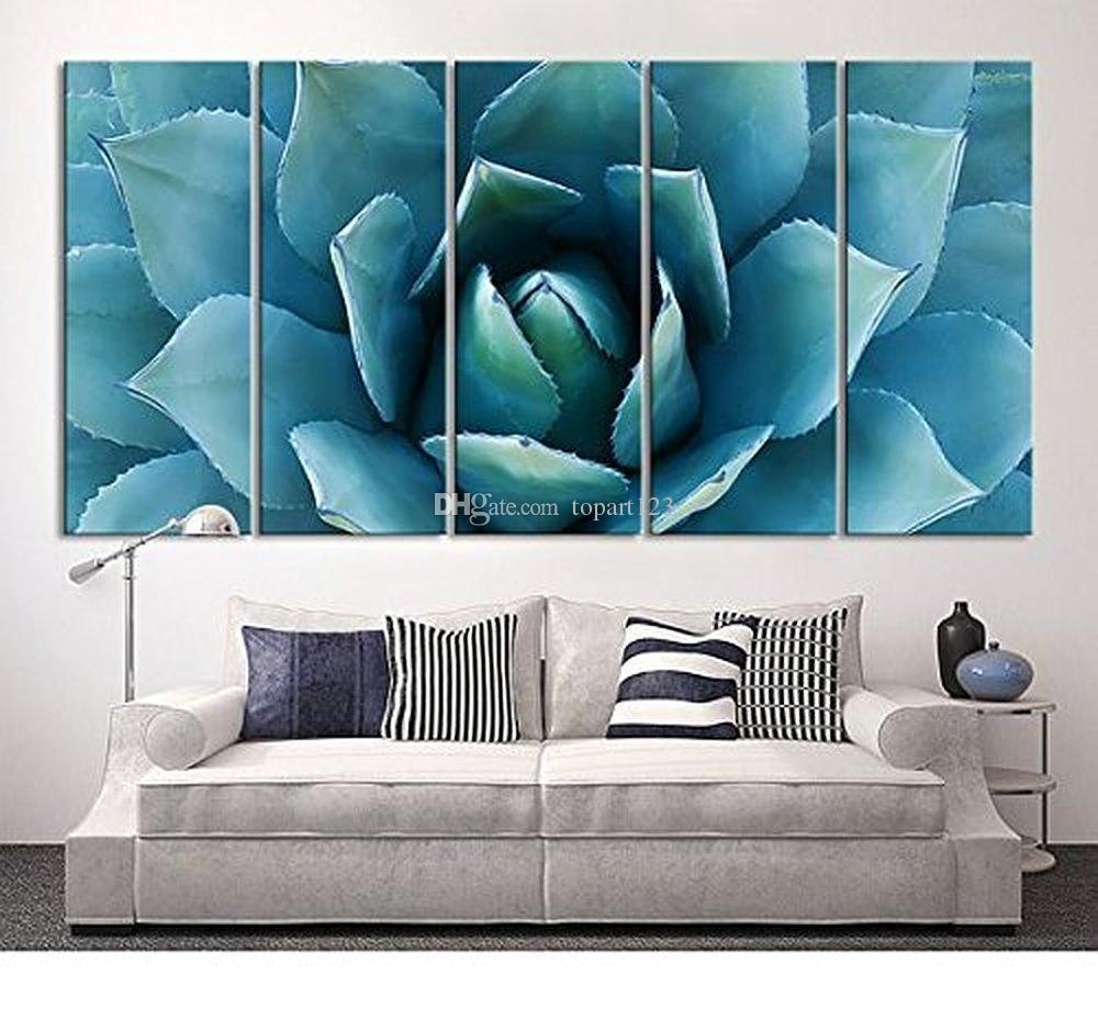 2017 Large Wall Art Blue Agave Canvas Prints Agave Flower Large In Large Teal Wall Art (Image 2 of 20)