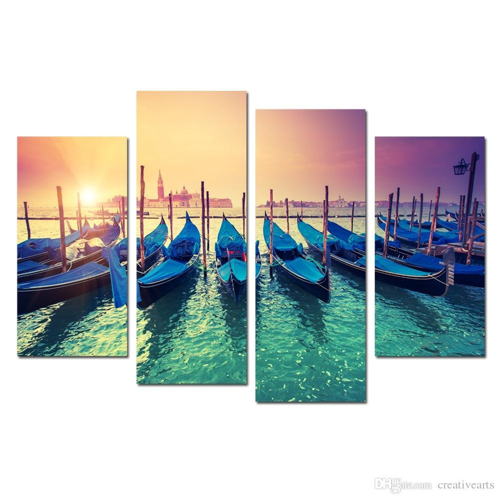 2017 Modern Canvas Painting Wall Art Fishing Boat In Sunrise Intended For Boat Wall Art (Image 1 of 20)