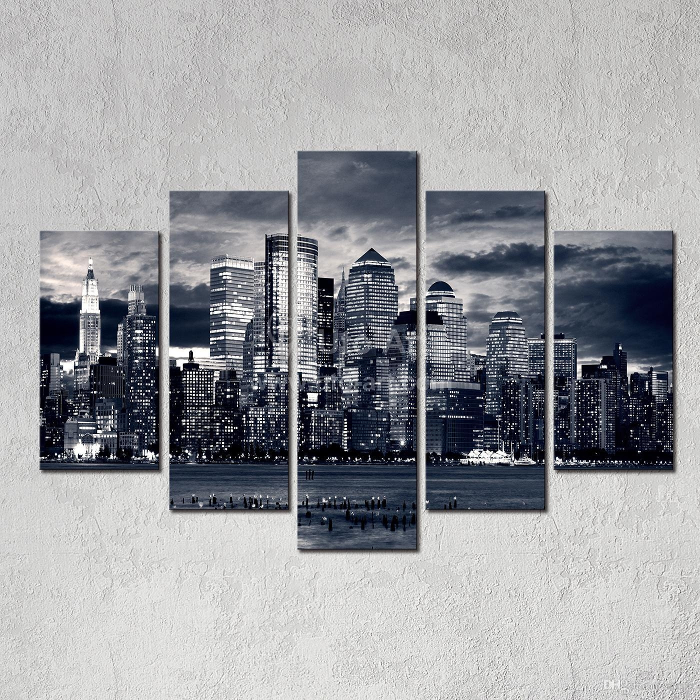 Designart New York City Skyline Panorama 5 Piece Wall: 20 Top New York Skyline Canvas Black And White Wall Art