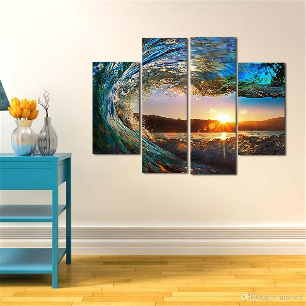 2017 Modern Huge Wall Art Oil Painting On Canvas Sea Wave Unframed intended for Huge Wall Art