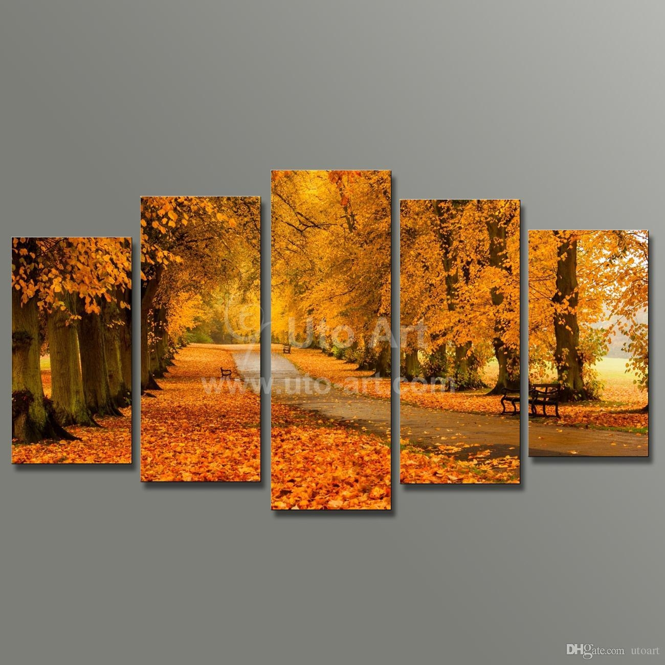 2017 Modern Modular Paintings On Canvas 5 Panel Wall Art Painting With Regard To Canvas Landscape Wall Art (Image 1 of 20)
