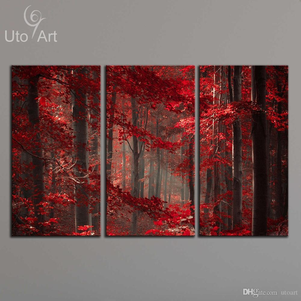 2017 Morden 3 Panel Wall Art Painting Red Enchanted Forest Giclee Inside Three Panel Wall Art (Image 4 of 20)