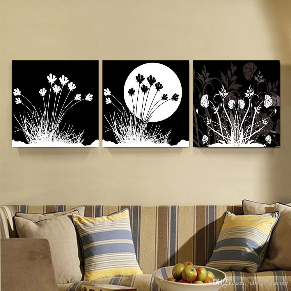 2017 Peace Large Modern 3 Panels Black White Moon Flower Landscape For Black White And Red Wall Art (Image 2 of 20)