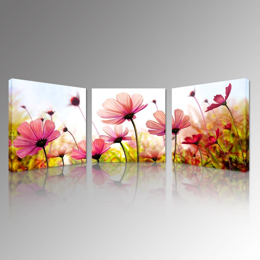 2017 Pink Recollections Canvas Prints Beautiful Flowers Picture within 3 Set Canvas Wall Art