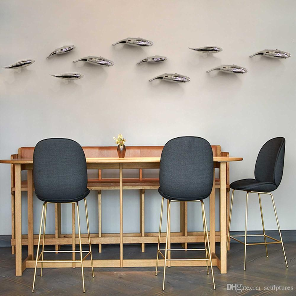 2017 Promotion Rushed Handmade Metal Fish Figurines Wall Art Decor with Stainless Steel Fish Wall Art