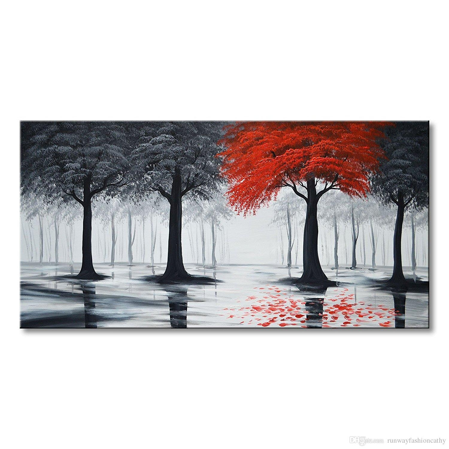 2017 Pure Handmade Large Canvas Oil Painting Modern Black And Red Inside Black And White Wall Art With Red (View 11 of 20)