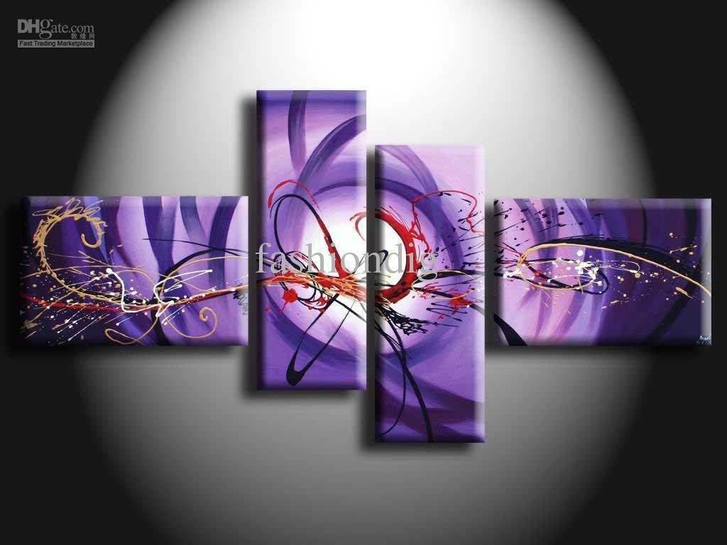 2017 Purple Oil Painting On Canvas Modern Abstract Artwork Pertaining To Purple Abstract Wall Art (View 10 of 20)