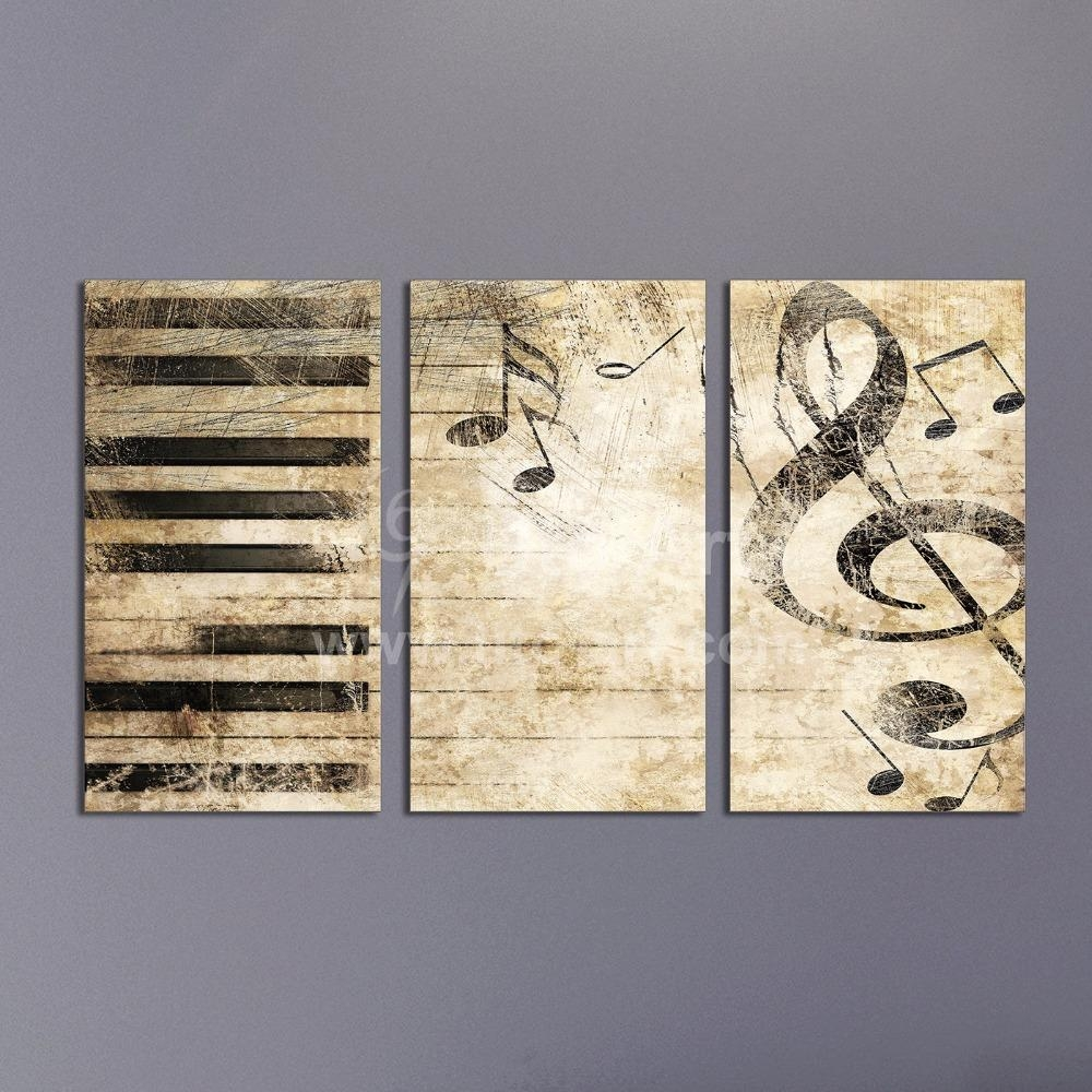 2017 Triptych Custom Multiple Panel Canvas Painting Piano Music With Multiple Panel Wall Art (View 14 of 20)
