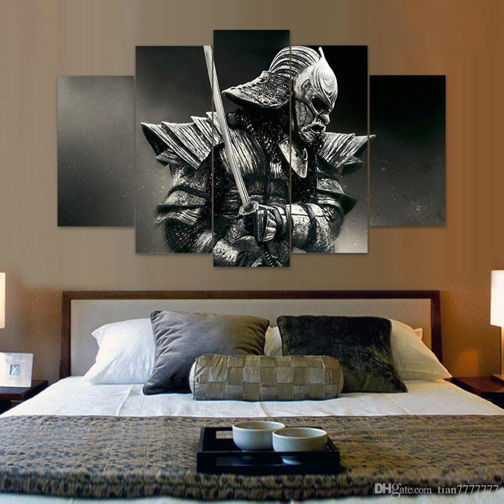 2017 Unframed 5 Panel Samurai Canvas Painting Fashion Home Decor intended for Samurai Wall Art