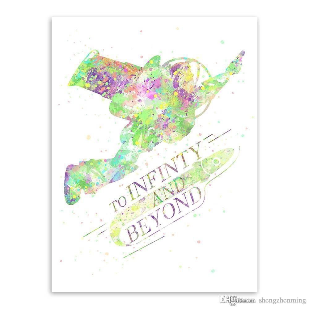 2017 Watercolor Toy Story Infinity Motivational Quotes Kids Room throughout Toy Story Wall Art