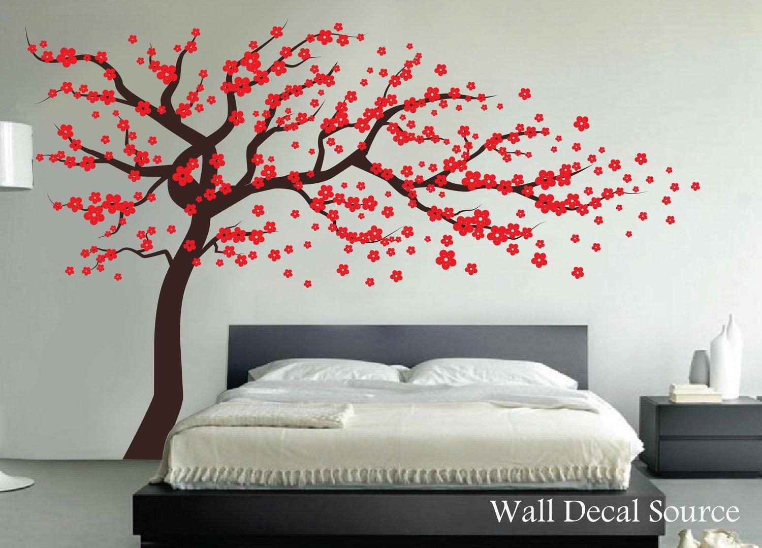 23 Japanese Cherry Blossom Wall Decal, Birds, Flower Cherry for Red Cherry Blossom Wall Art