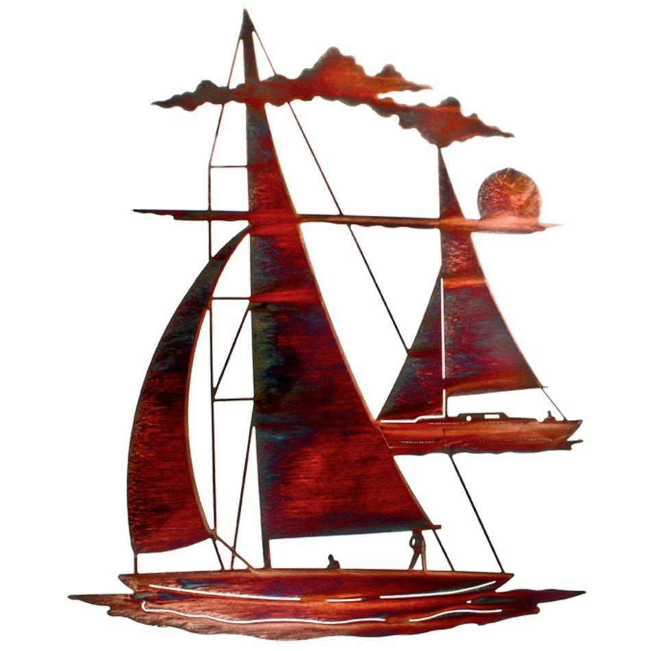 "24"" Catch 'n Sail Floating Sailboat Metal Wall Art - Nautical Wall in Sailboat Metal Wall Art"