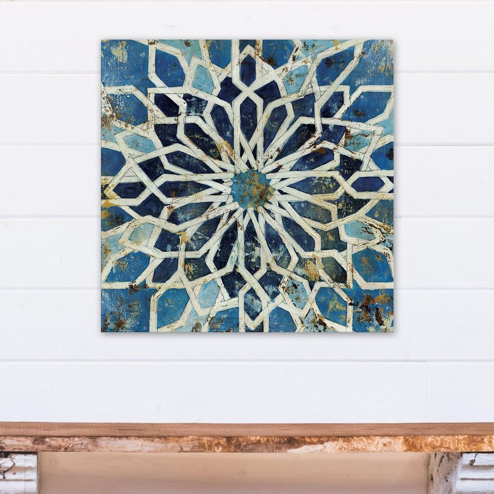 24 In. X 24 In. Blue Mediterranean Kaleidoscope Printed Canvas with regard to Kaleidoscope Wall Art
