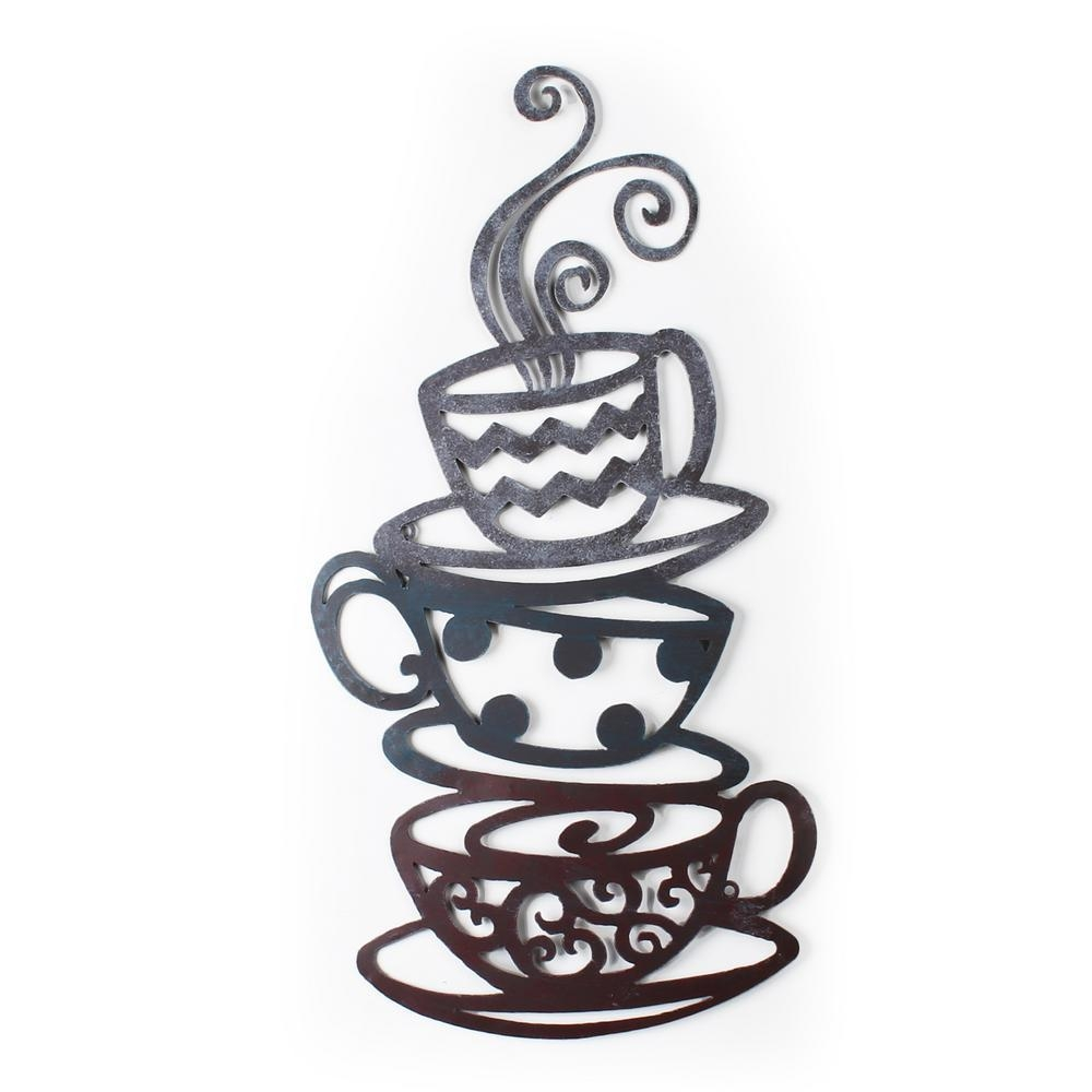 24 In. X 31 In. Coffee Tea Cups Metal Wall Decor-Dn0008 - The Home inside Metal Coffee Cup Wall Art