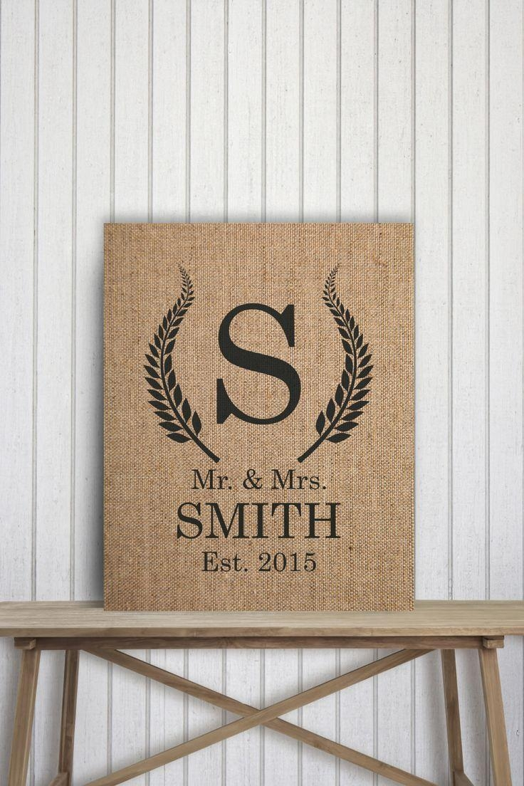 25+ Best Burlap Letter Ideas On Pinterest | Burlap Nursery, Burlap throughout Last Name Framed Wall Art