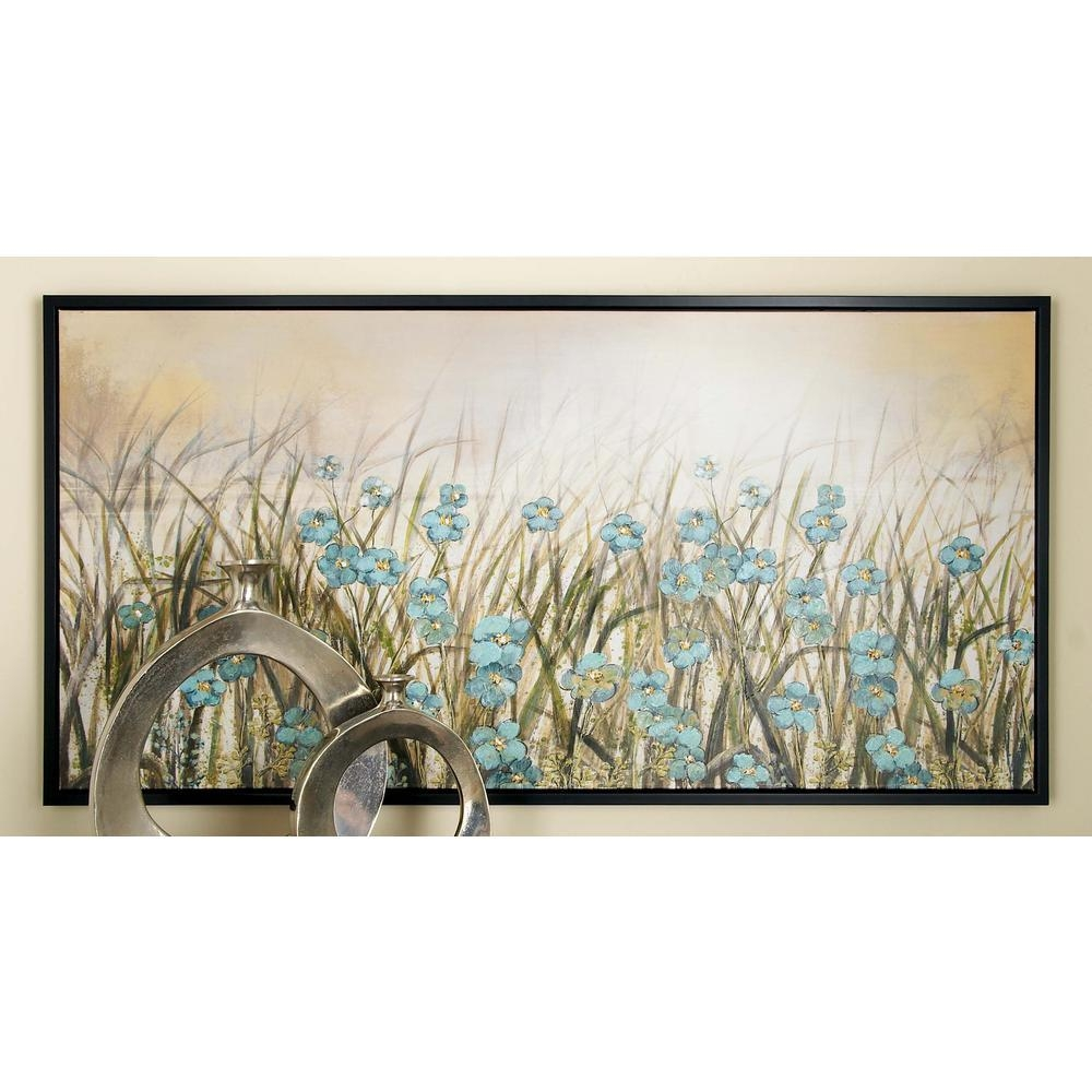 27 In. X 55 In. Framed Blue Flowers Wall Art In Brown Canvas-43965 pertaining to Brown Framed Wall Art