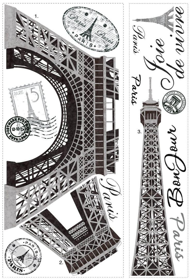 20 ideas of paris themed stickers wall art ideas. Black Bedroom Furniture Sets. Home Design Ideas
