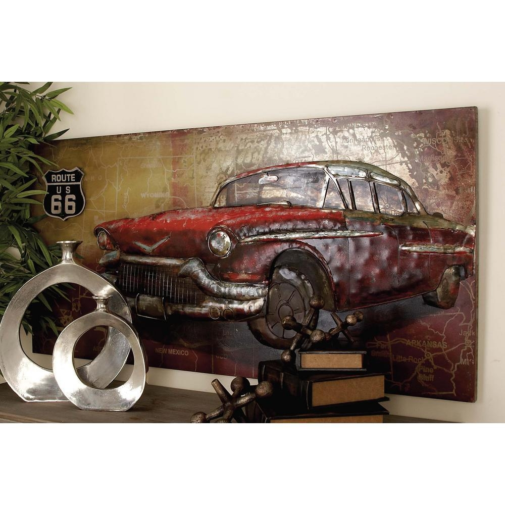 28 In. X 55 In. Rustic Iron Vintage Car And Route 66 Wall Art intended for Classic Car Wall Art