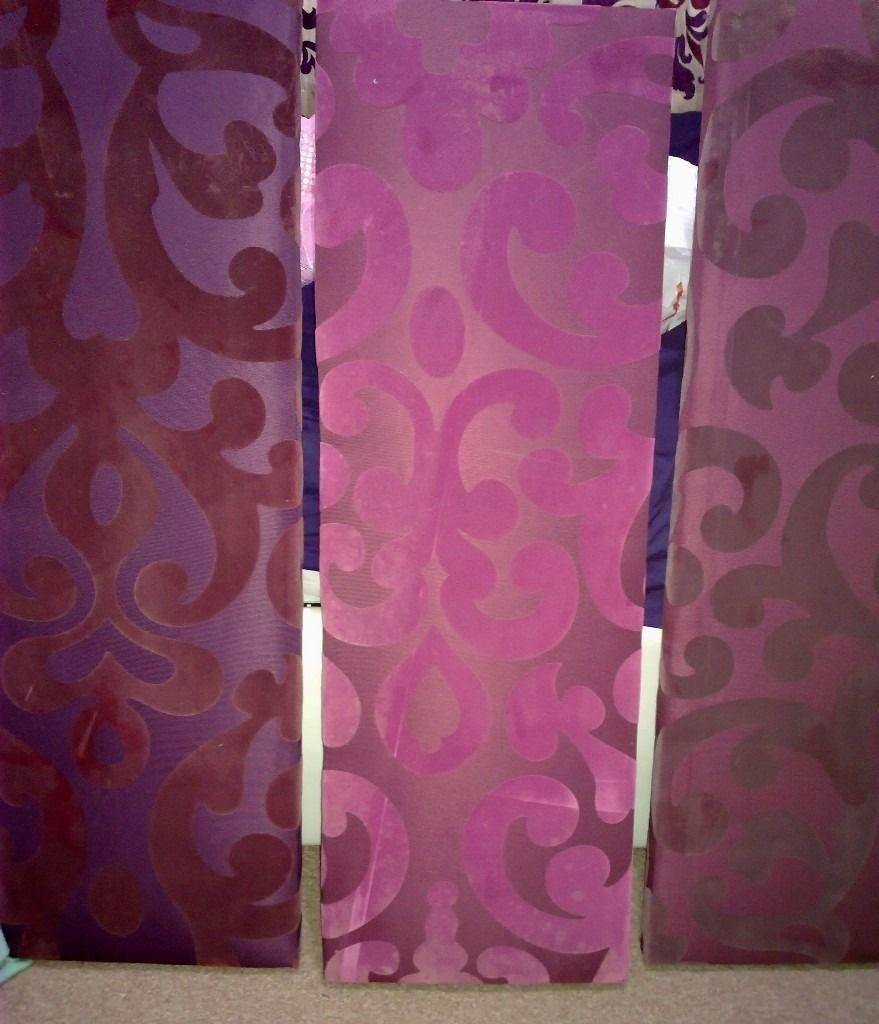 3 Big Next Canvases Wall Art Purple Magenta Plum Aubergine Satin With Aubergine Wall Art (View 2 of 20)