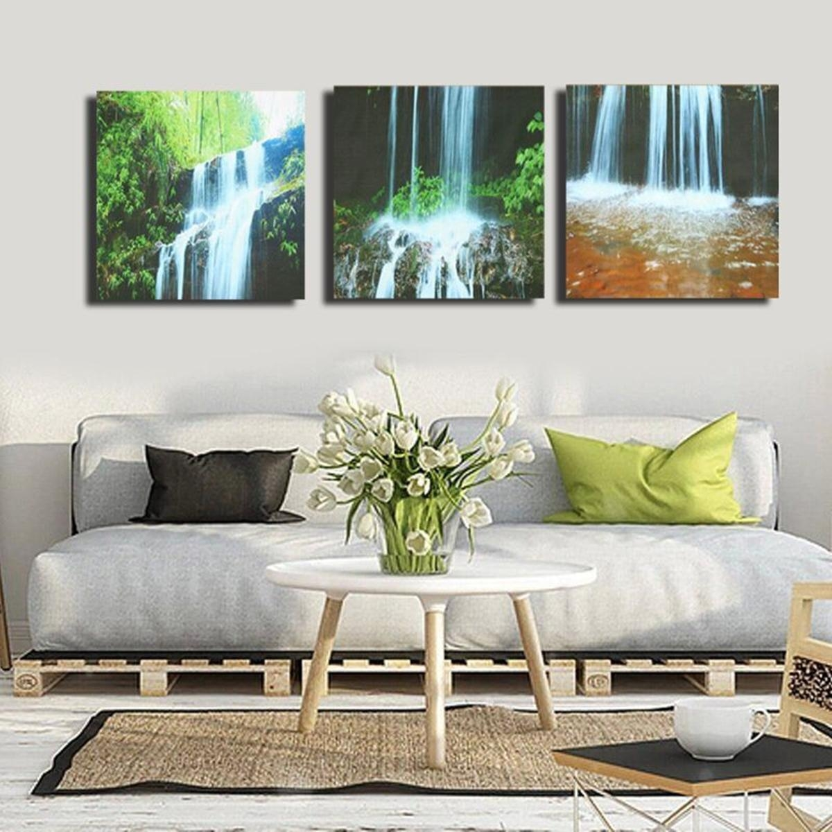 3 Cascade Large Waterfall Framed Print Painting Canvas Wall Art Regarding Waterfall Wall Art (View 11 of 20)