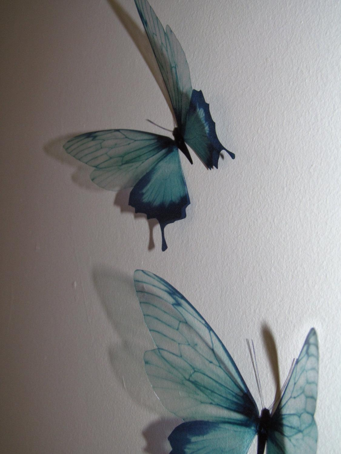3 Luxury Amazing In Flight Duck Egg Blue Butterflies 3D Inside Duck Egg Blue Wall Art (Image 1 of 20)
