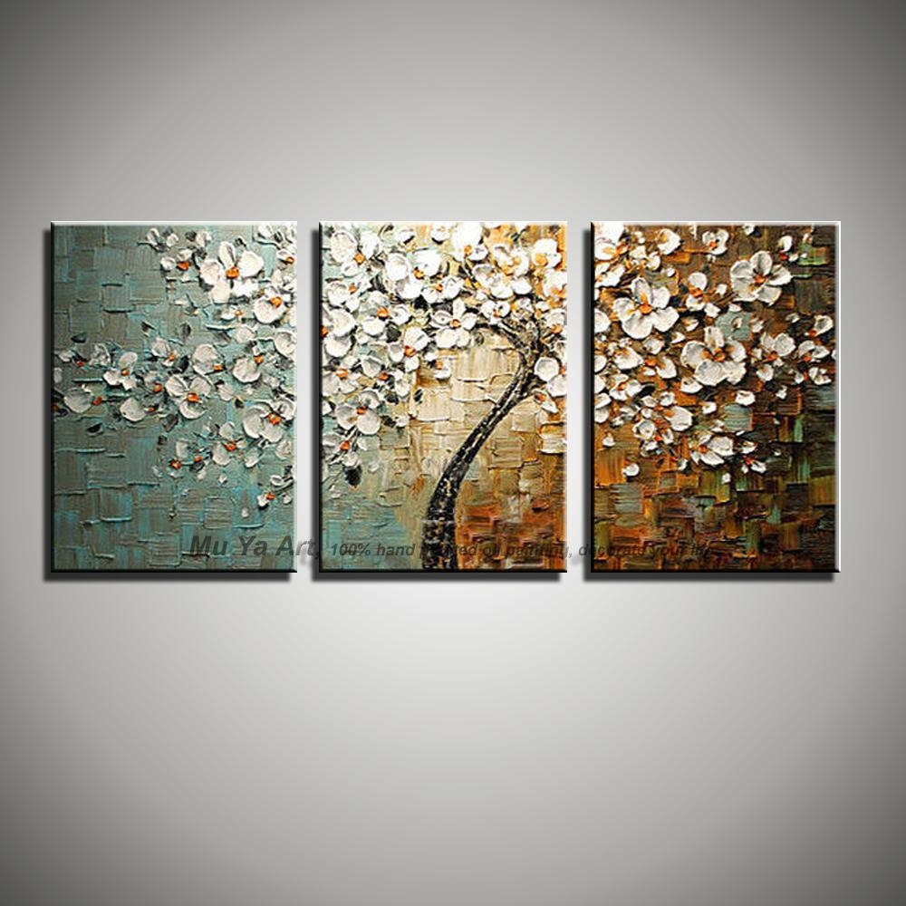 3 Panel Wall Art Canvas Tree Acrylic Decorative Pictures Hand For Painted Trees Wall Art (Image 1 of 20)