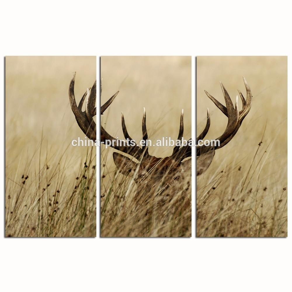3 Panel Wall Decor Deer Stag Wall Art/home Decor Decoration Animal With Stag Wall Art (Image 1 of 20)