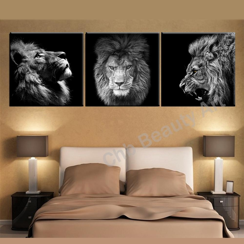 3 Panels Lion King Canvas Art Modern Abstract Painting Wall Inside Lion Wall Art (Image 1 of 20)