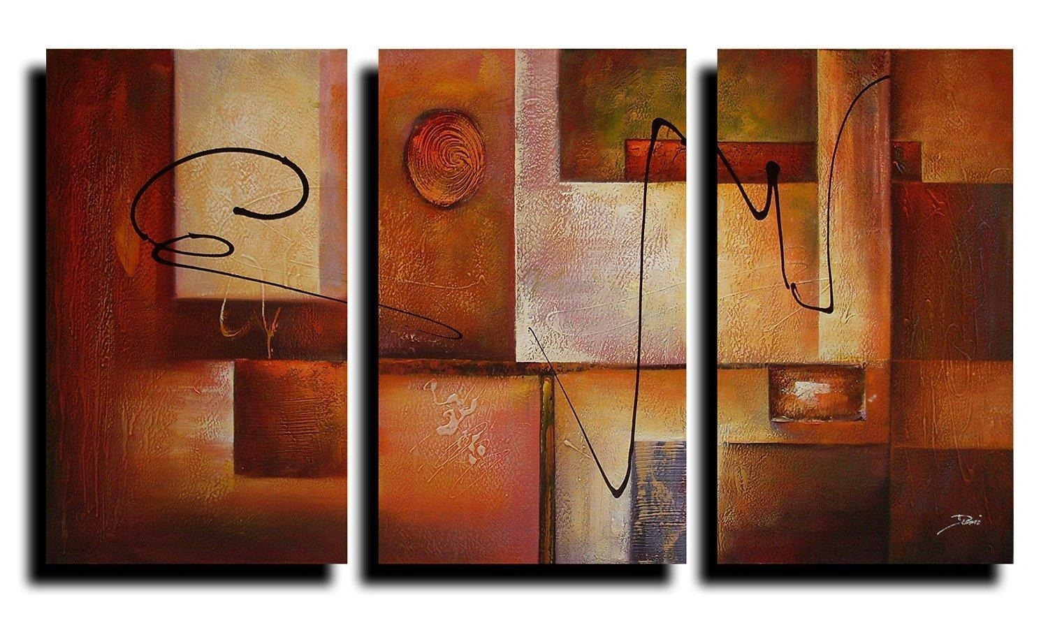 3 Pcs Abstract Canvas Art : Cheap Oil Paintings|Paintings For Sale Within Abstract Canvas Wall Art (View 13 of 20)