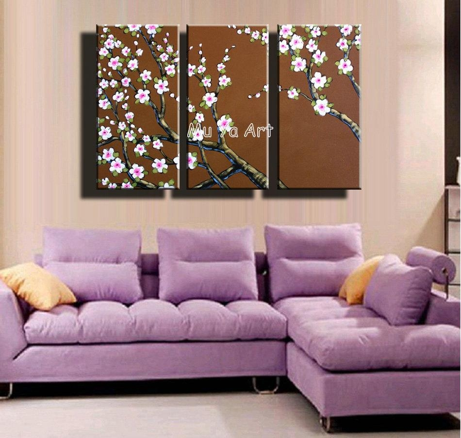 3 Piece Abstract Canvas Wall Art Hand Painted Acrylic Tree Floral Throughout 3 Piece Floral Canvas Wall Art (Image 1 of 20)