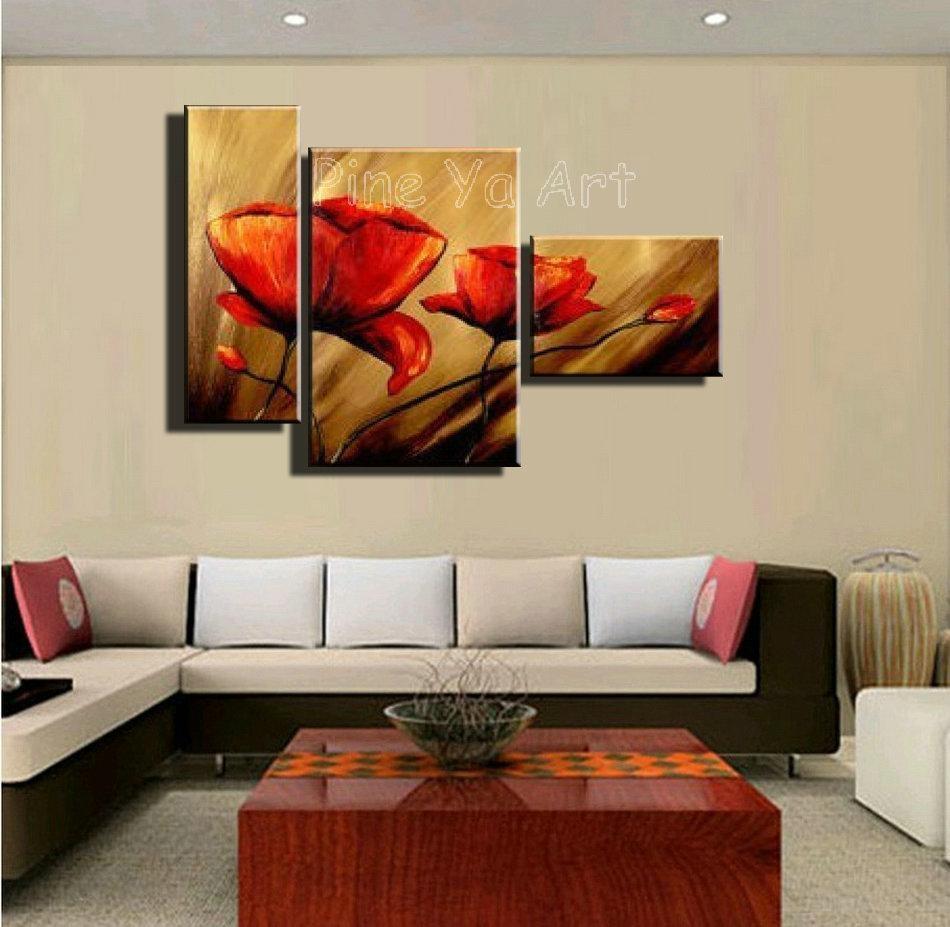 3 Piece Abstract Modern Canvas Wall Art Cheap Handmade Red Poppy With Red Poppy Canvas Wall Art (Image 2 of 20)