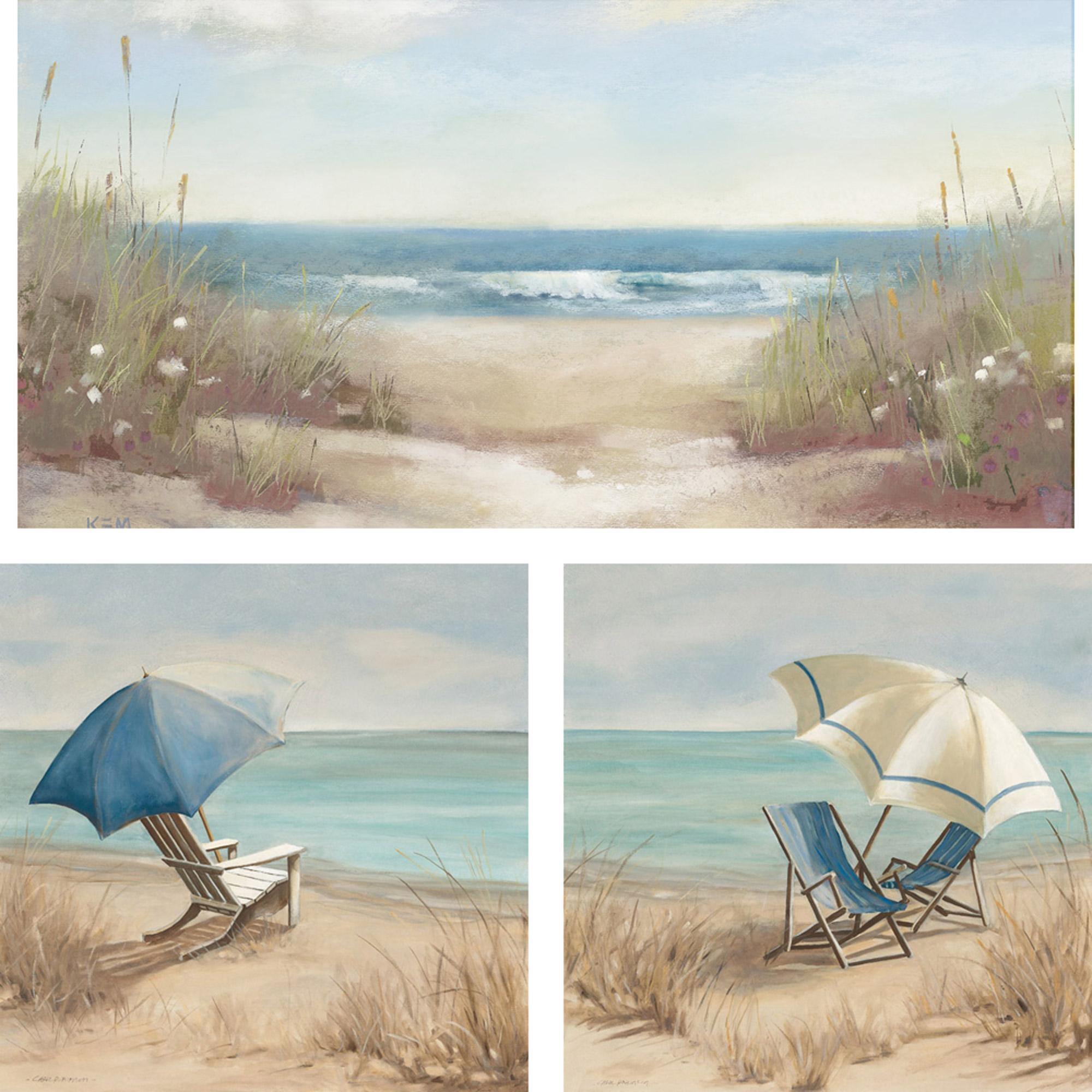 3-Piece Beach Scene Wall Art Set, 23X23 - Walmart throughout Beach Wall Art