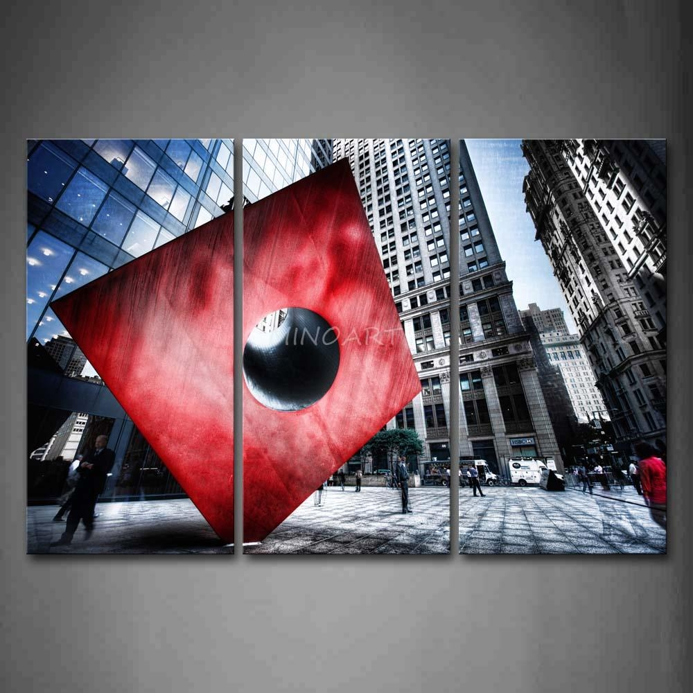 3 Piece Black And White Wall Art Painting Red Cube With Circle Within Black And White Wall Art With Red (Image 3 of 20)