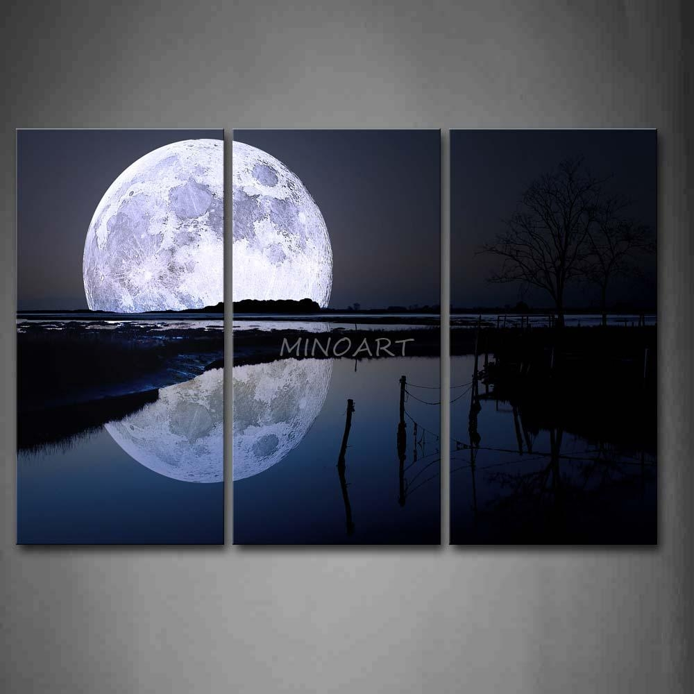 3 Piece Black And White Wall Art Painting Reflection Of Big Moon Intended  For 3 Piece