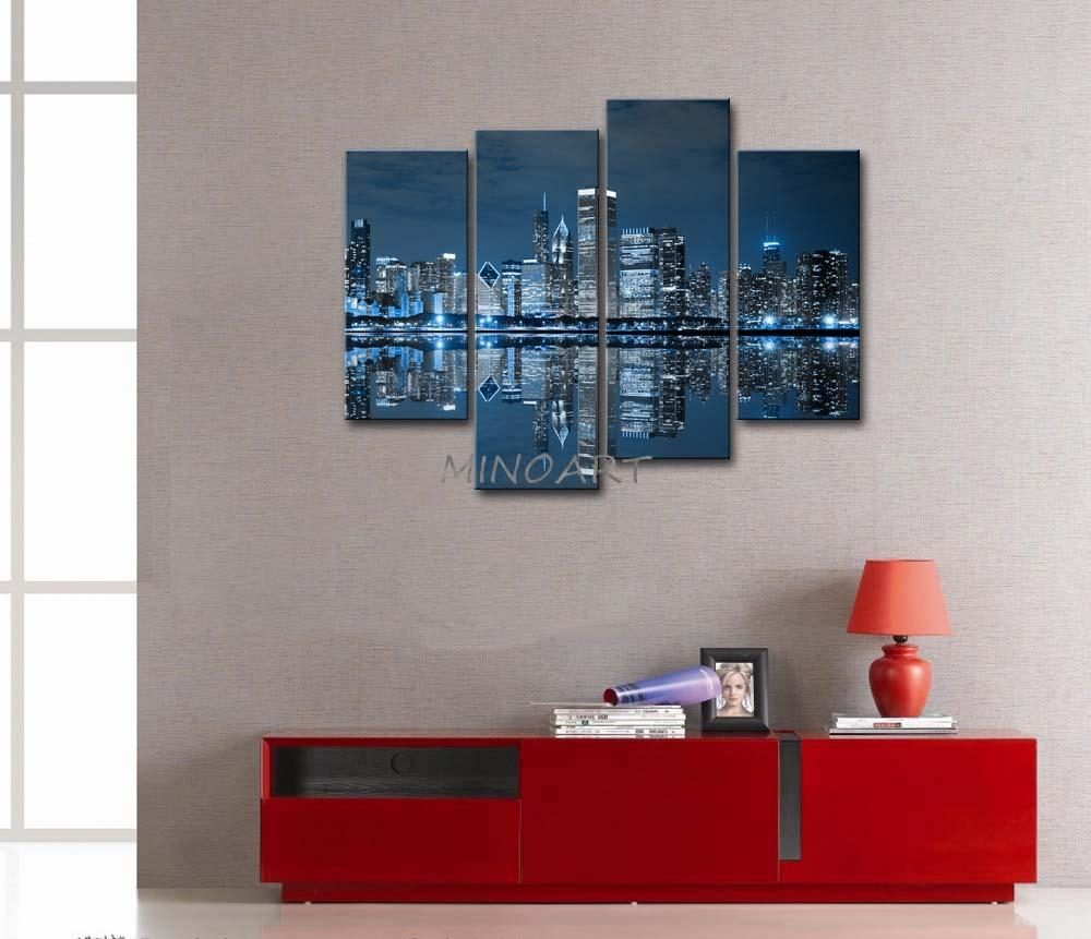 3 Piece Blue Wall Art Painting Cool Buildings In Dark Color In In Dark Blue Wall Art (Image 1 of 20)
