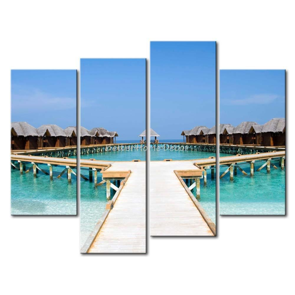 3 Piece Blue Wall Art Painting Maldives Beach Bridge Houses Clear Intended For 3 Piece Beach Wall Art (View 11 of 20)