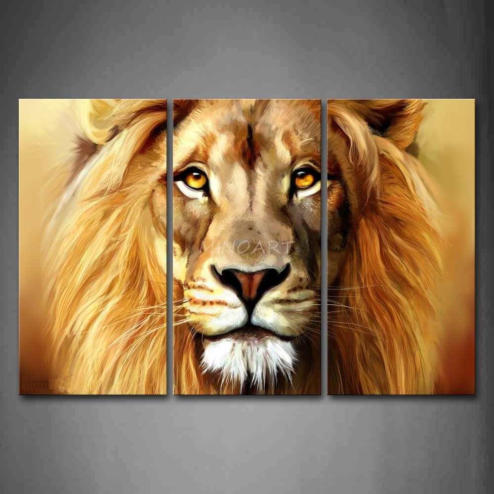 3 Piece Brown Wall Art Painting Lion Head Portrait Print On Canvas Intended For Lion Wall Art (Image 2 of 20)