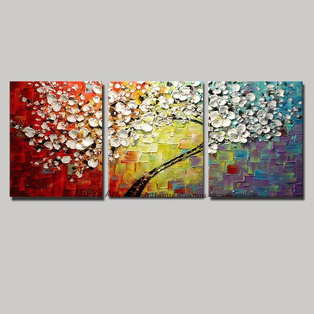 3 Piece Canvas Wall Art Wall Picture Modern Flower Colorful Within 3 Piece Floral Canvas Wall Art (View 8 of 20)