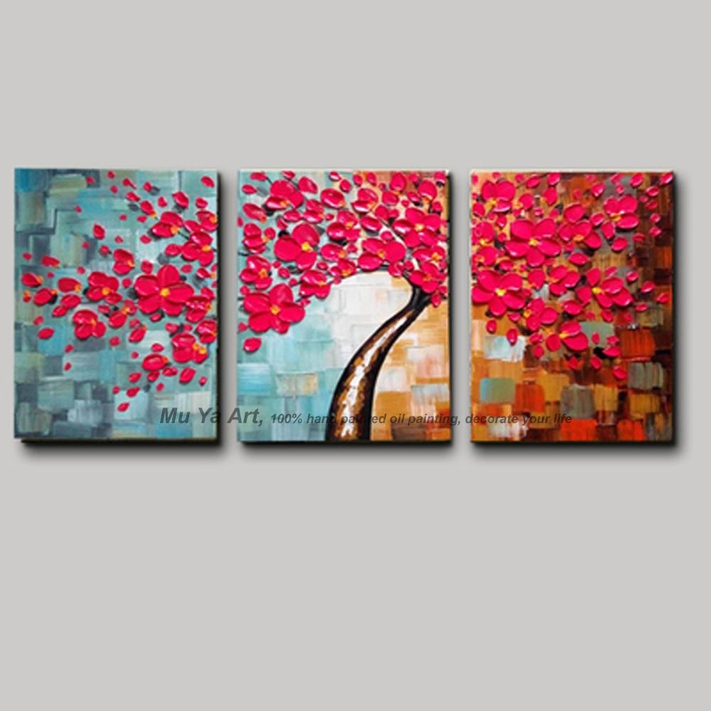 3 Piece Wall Art Flower Pictures Acrylic Decorative Hand Painted Intended For 3 Piece Abstract Wall Art (Image 1 of 20)