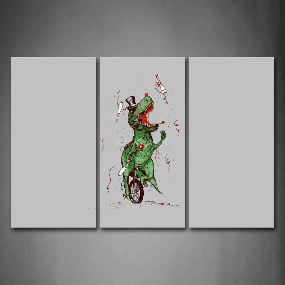 3 Piece Wall Art Painting Artist Dinosaur Ride Monocycle Gray Regarding Dinosaur Canvas Wall Art (View 19 of 20)