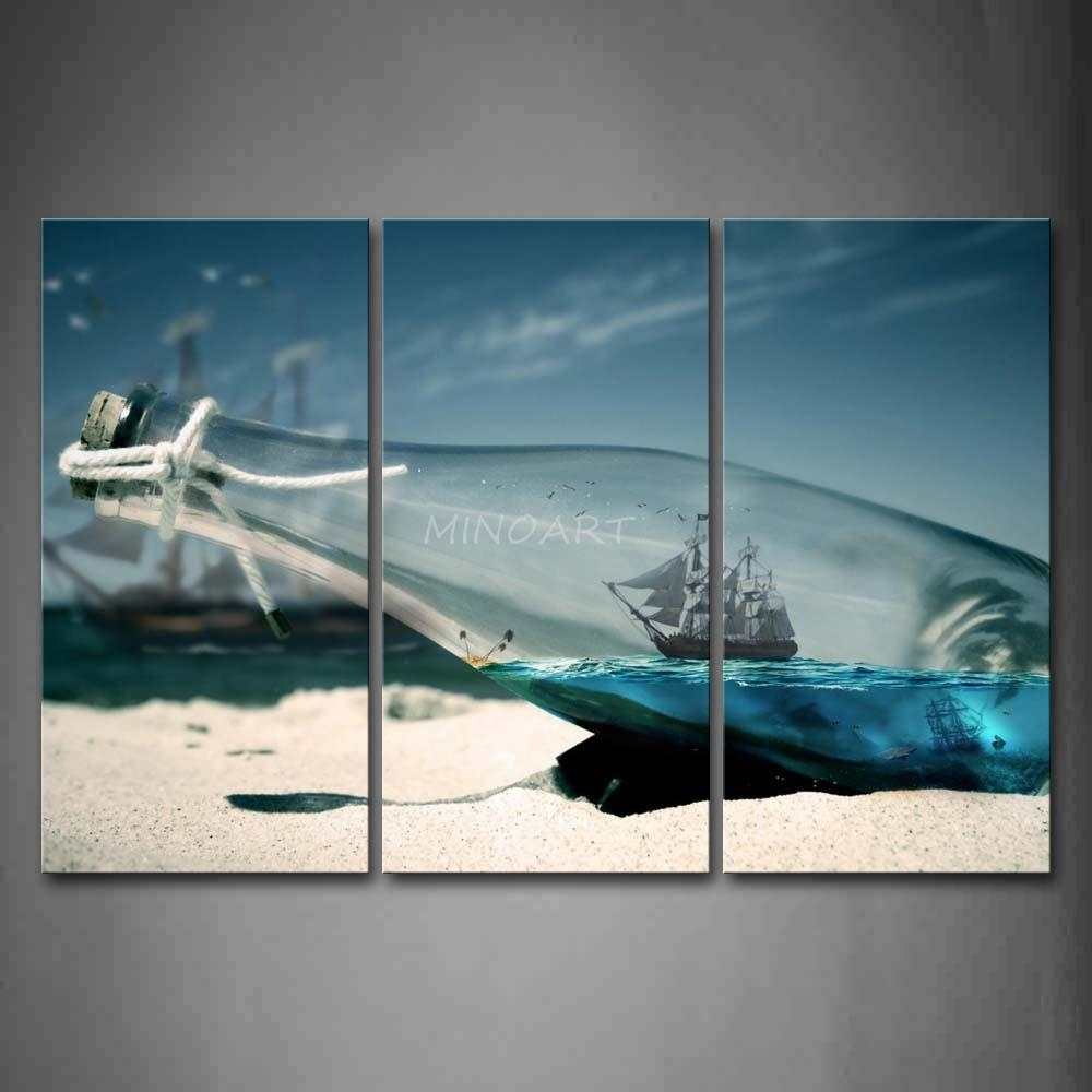3 Piece Wall Art Painting Boat In Glass Bottle On Beach Print On with regard to 3 Piece Beach Wall Art