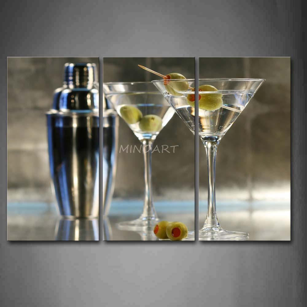 3 Piece Wall Art Painting Cocktail With Glasses And Adjustable pertaining to Martini Glass Wall Art