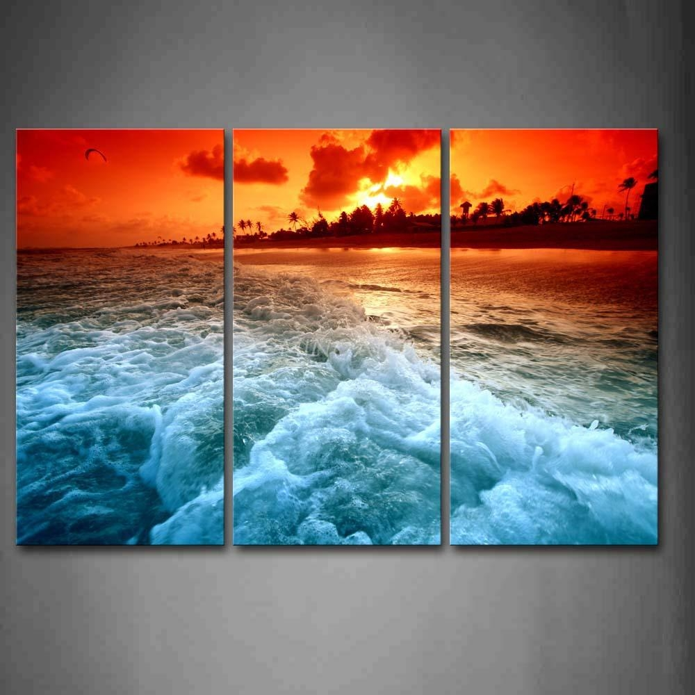 3 Piece Wall Art Painting Huge Wave On Beach At Sunset Picture pertaining to 3 Piece Beach Wall Art