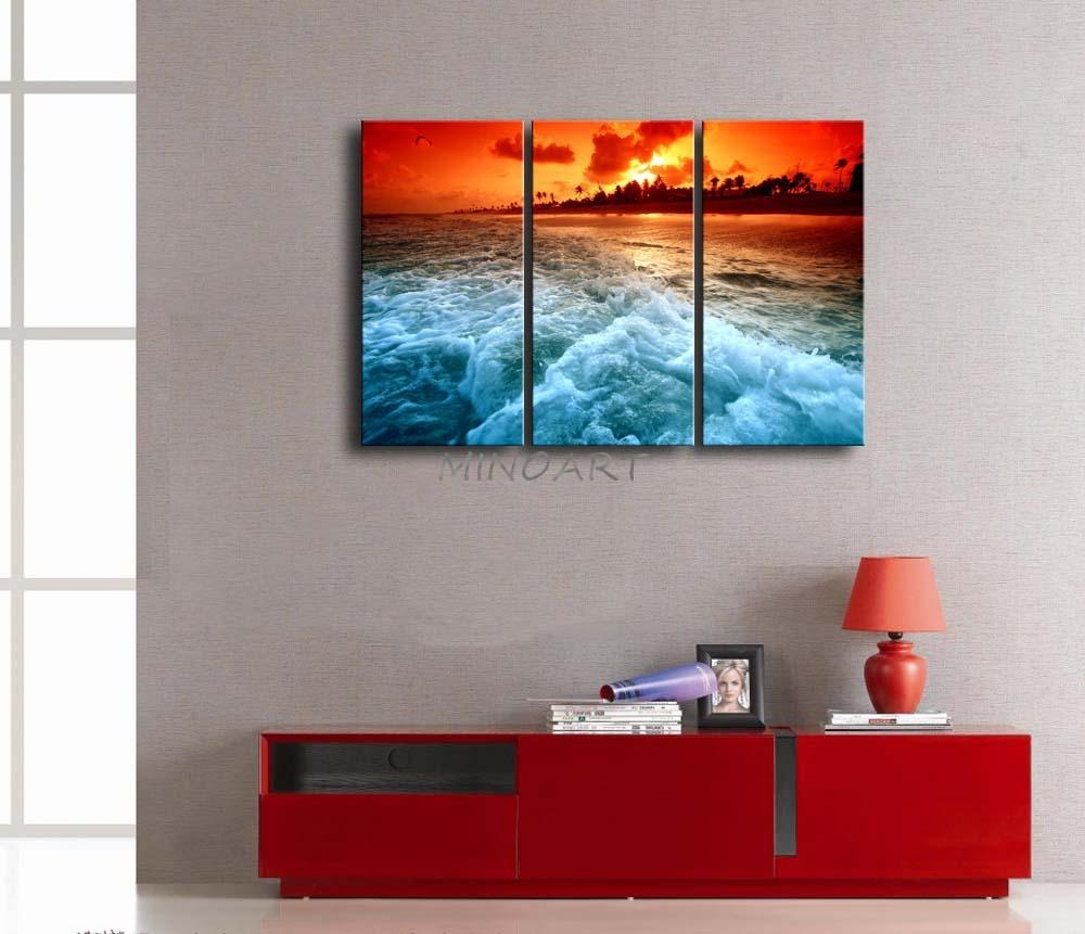 3 Piece Wall Art Painting Huge Wave On Beach At Sunset Picture Throughout 3  Piece Beach
