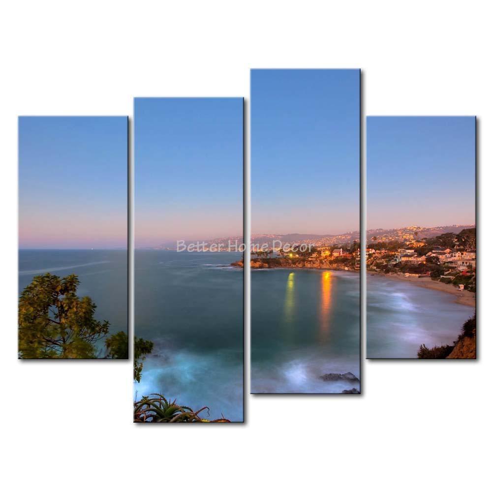 3 piece wall art painting laguna beach california print on canvas for 3 piece beach wall