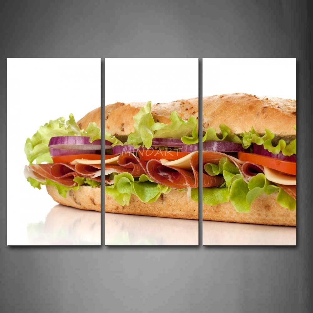 3 Piece Wall Art Painting Sandwich With Vegetable And Meat Picture With 3 Piece Wall Art (Image 2 of 20)