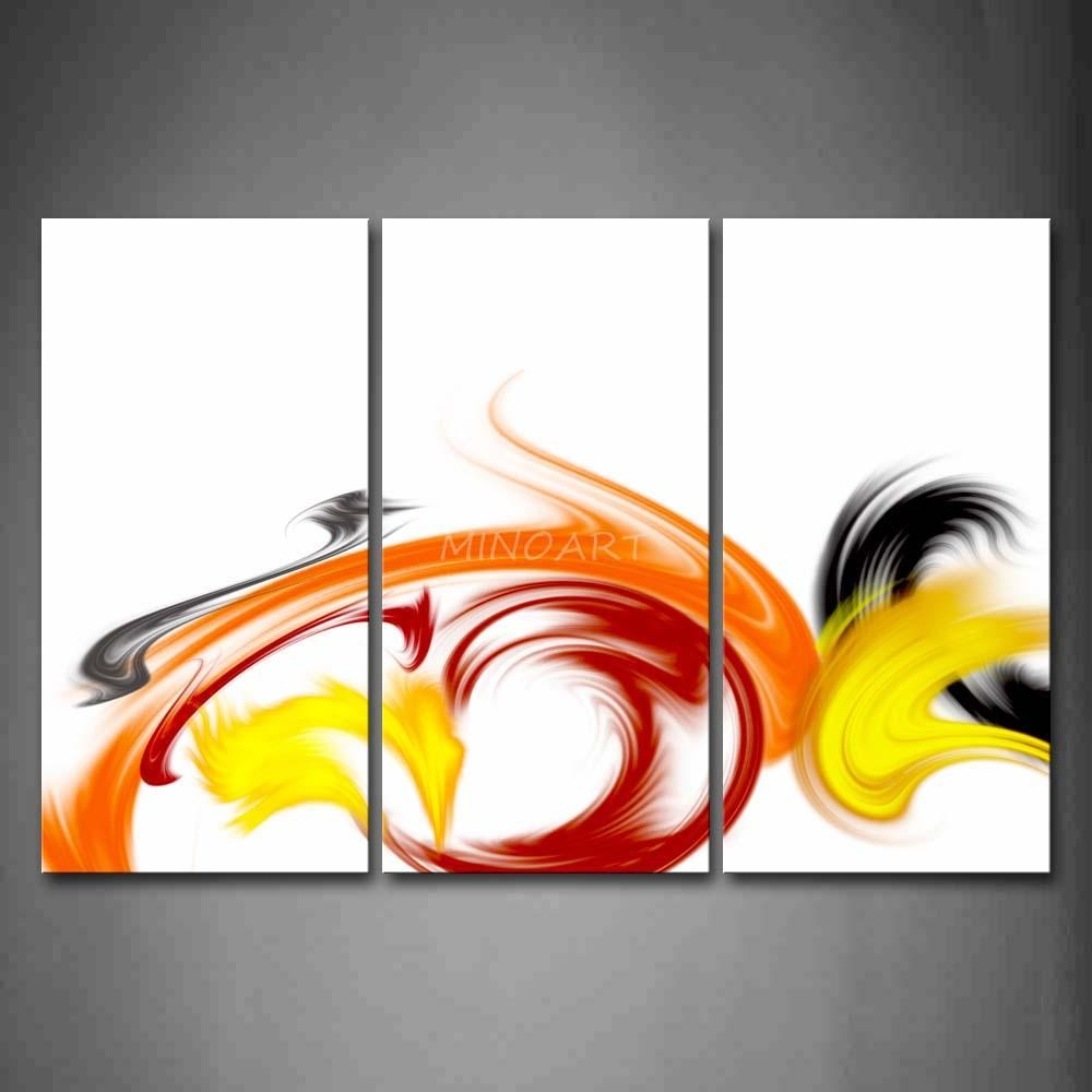 3 Piece Wall Art Painting Swirl Red Yellow Black White Background With Red And Yellow Wall Art (Image 1 of 20)