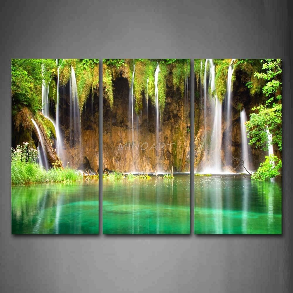 3 Piece Wall Art Painting Waterfall From Small Cliff Plant Green With Regard To Waterfall Wall Art (View 17 of 20)